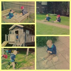 buiten spelen zon mooi weer stoepkrijt zandbak fietsen gezellig, buiten, jongens, wat doen jongens buiten