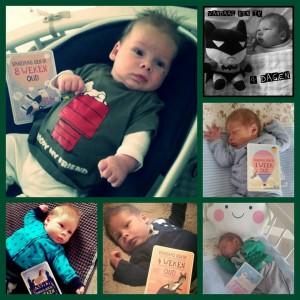 Milestone baby cards. Brent vanaf 4 dagen oud tot 8 weken.