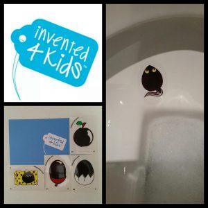 invented 4 kids, plasstickers, batboy, plassticker, richten, wc, toilet, extra drinken, stimuleert