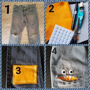 kapotte spijkerbroek, jongens, schaar, textillijm, vilt