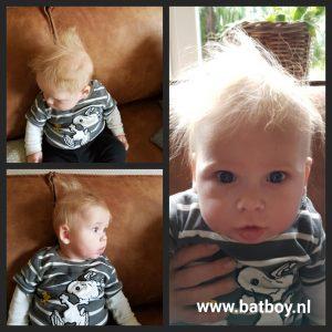 baby, 5 maand, kaal, veel haar, haren, batboy, baby's met haar