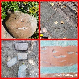 gezichtjes, tuin, fantasie, stenen, batboy, kinderen, denken, creatief, fanatsie bij kinderen