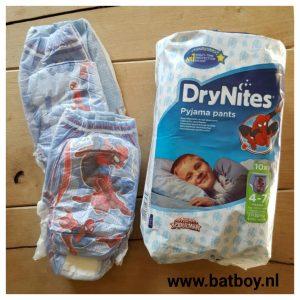 drynites, bedplassen, batboy, pamper, spiderman