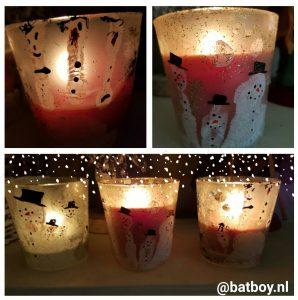 sneeuwpop, waxinelichtjeshouder, batboy, kerst, diy