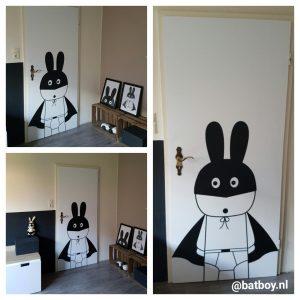 pmpjedeur, deur, pimpen, batboy, deur, poster, sticker, speelkamer
