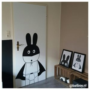 pimpen, batboy, deur, poster, sticker