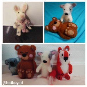 droogvilten, konijntje, konijn, batboy, dieren, beer, koala, vos, prikken, diy