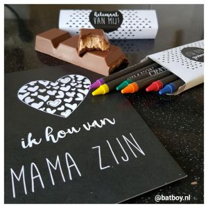 chocolade, mama abc, batboy, zwart wit, mama mijlpaalkaarten