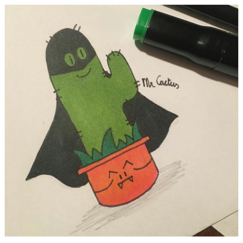 mr. cactus, tekenen, cactus, batboy