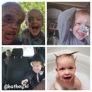 gekke bekken trekken, niet samen op de foto, batboy, foto's maken van je kinderen