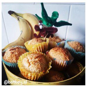 muffins maken, banaan en kokosmuffins, batboy