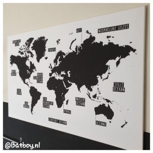 decoratie, zwart wit wereldkaart