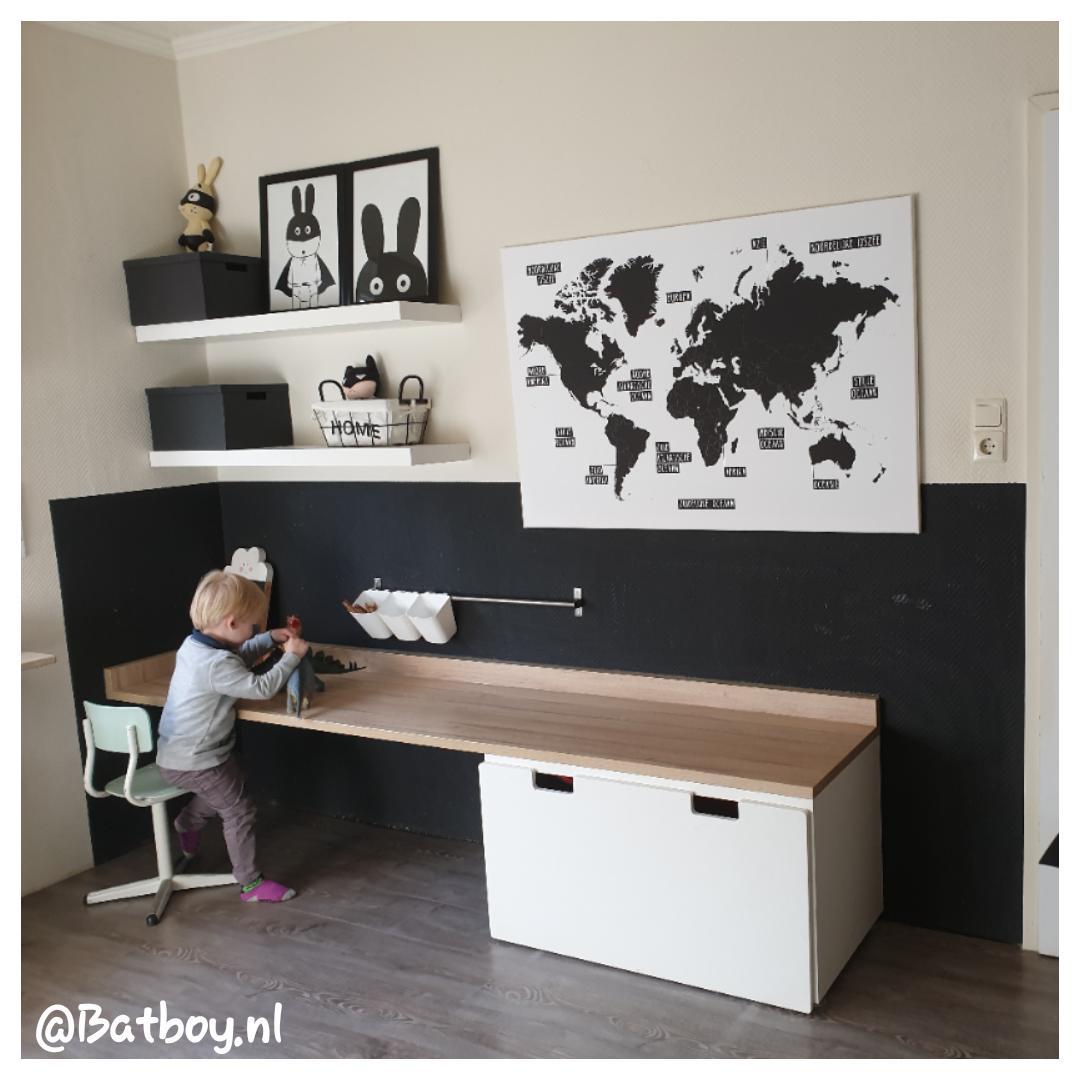 wereldkaarten, muur, decoratie, speelkamer, zwart wit