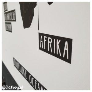 wereldkaart, canvas, zwart wit