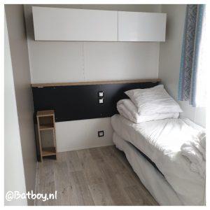 slaapkamer, stacaravan, camping