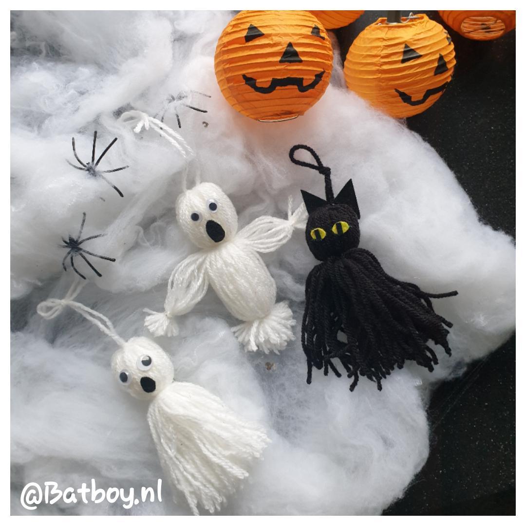 Zo maak je spookjes en een zwarte kat van wol voor Halloween